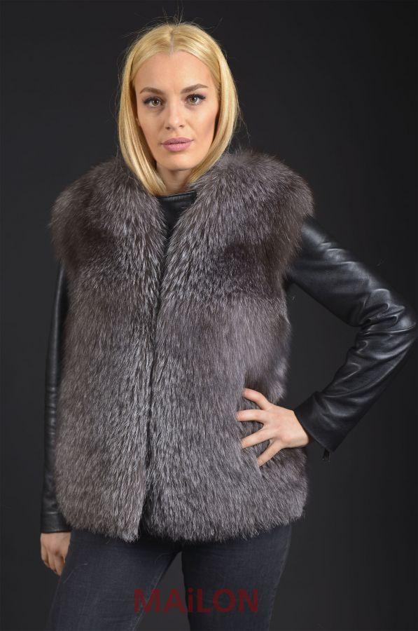 SAGA Blue Frost Fox fur vest