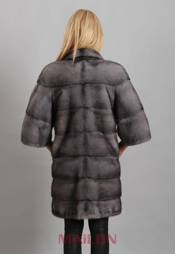 Blue Iris Mink Jacket with pelts across & Half Bell Sleeve
