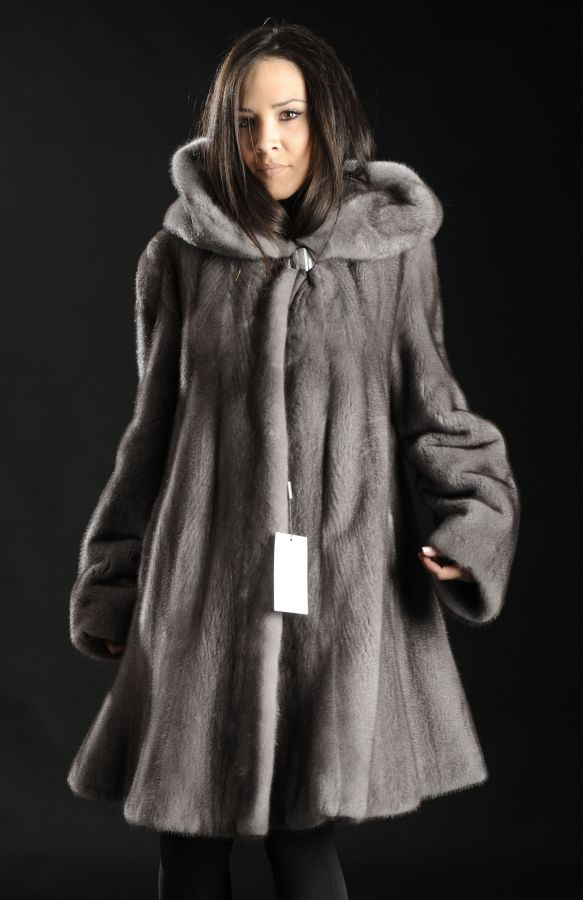 Blue Iris Mink Coat with hood & large hemline