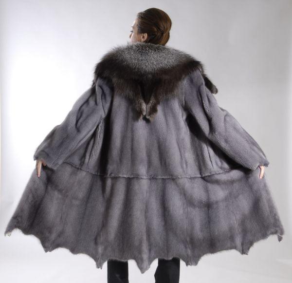 Blue Iris Mink coat mid calf coat with Fox Collar