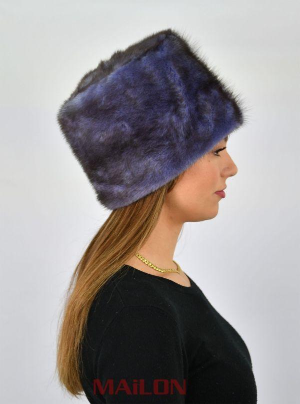 Dyed Blue Mink Fur Hat