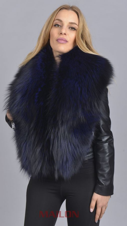 SAGA dark blue Fox Fur collar