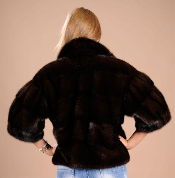 SAGA ROYAL Mahogany Mink Fur Bolero - Size Large