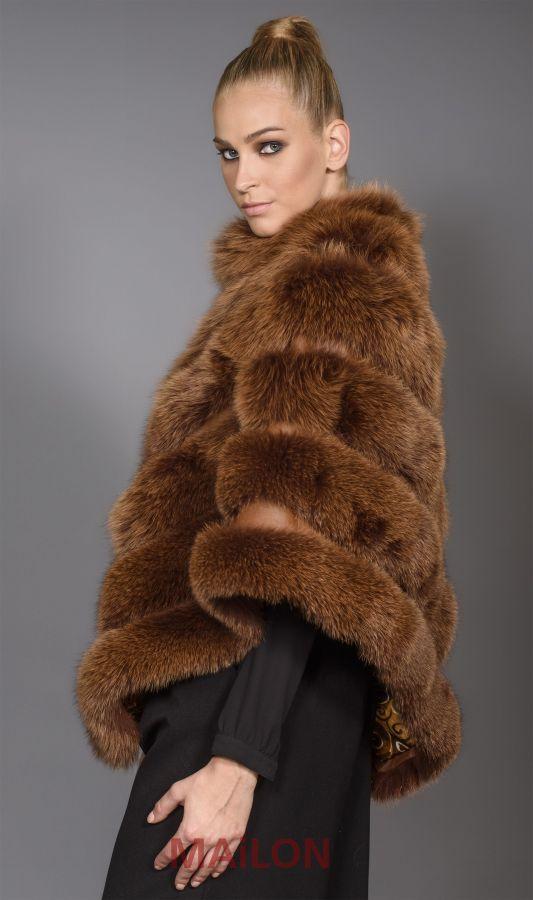 Brown SAGA Fox Fur Cape - One Size fits most