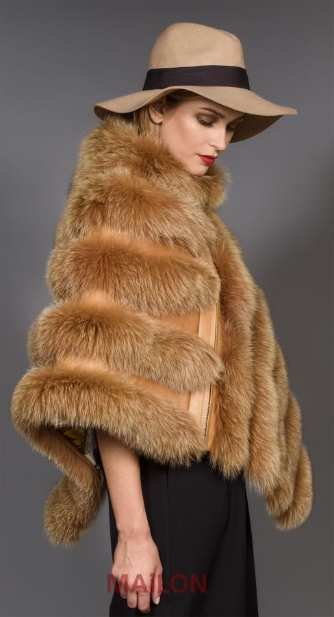 Light brown / Camel SAGA Fox Fur Cape - One Size fits most