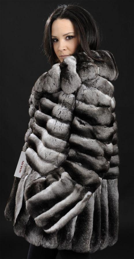 Empress chinchilla fur jacket with English collar
