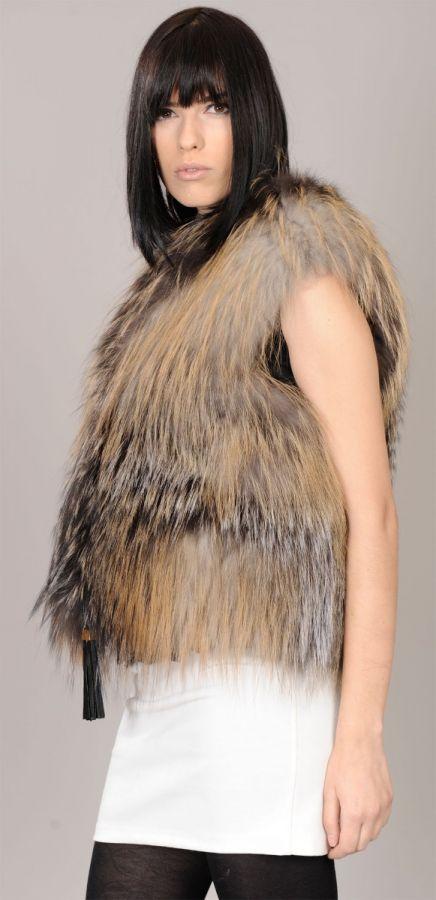 Golden Cross Feathered Fox fur vest