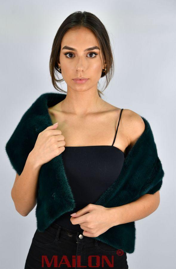 SAGA ROYAL Cypress Green Mink Fur Scarf