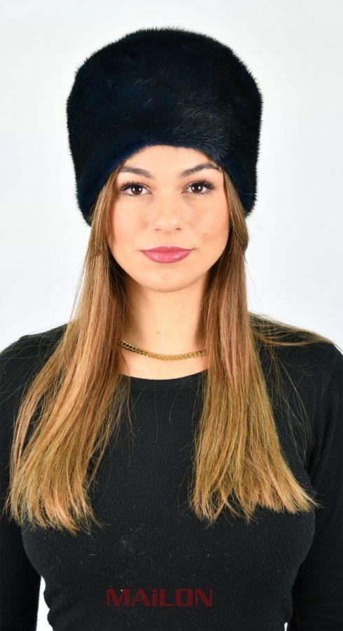 Dark Blue SAGA ROYAL Mink Fur Hat - Size Small