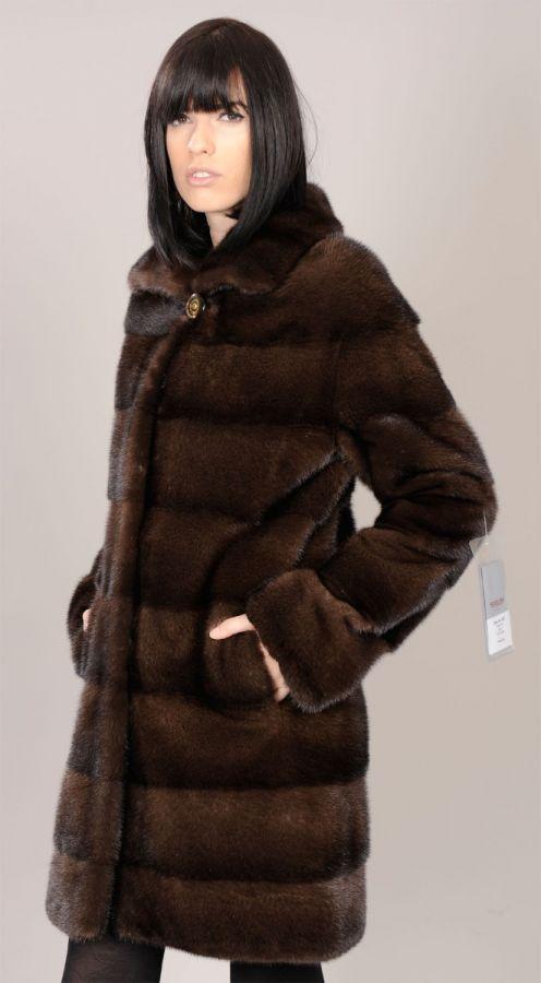 Demi Buff brown Mink jacket with pelts across