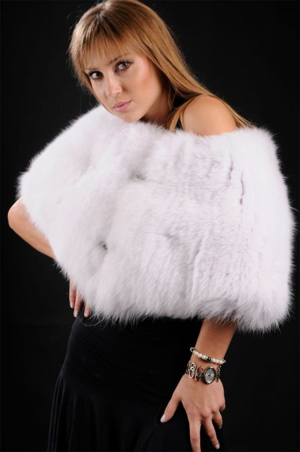 Feathered White Fox Fur stole