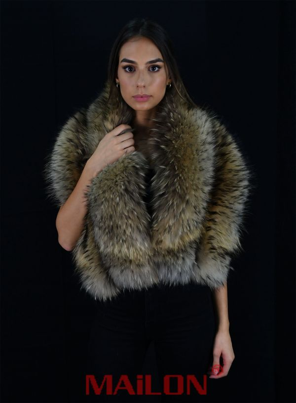 SAGA FURS Feathered Finnraccoon Fur stole - One size