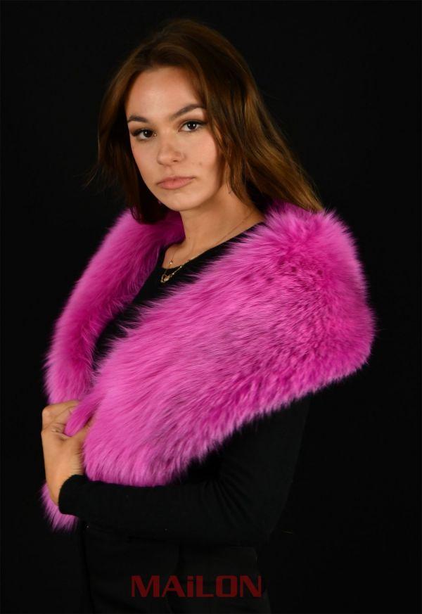 SAGA Dyed Light Blue Turquoise Fox Fur Collar