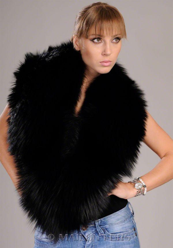 Long guard hair Black Fox collar