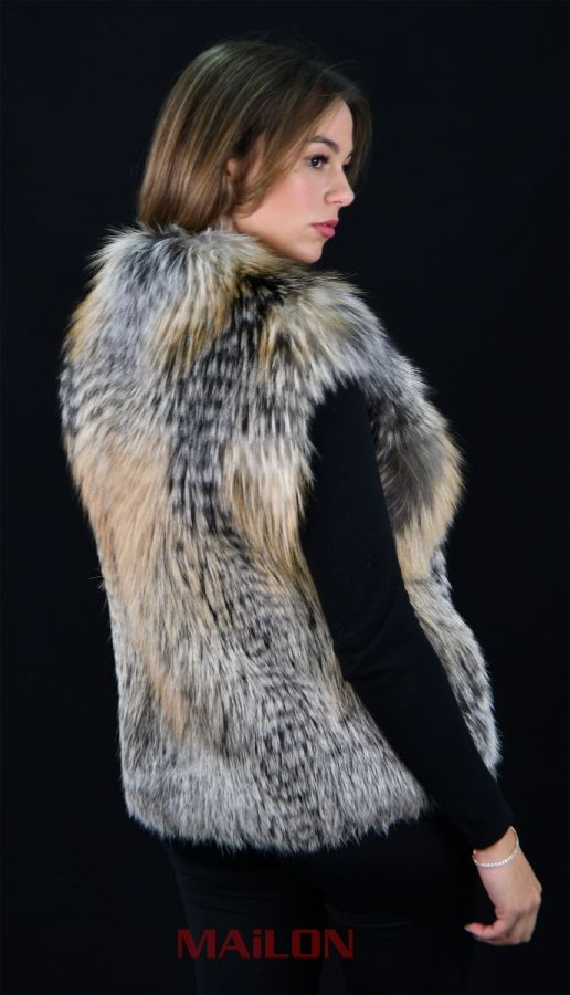 Golden Cross Feathered Fox fur vest