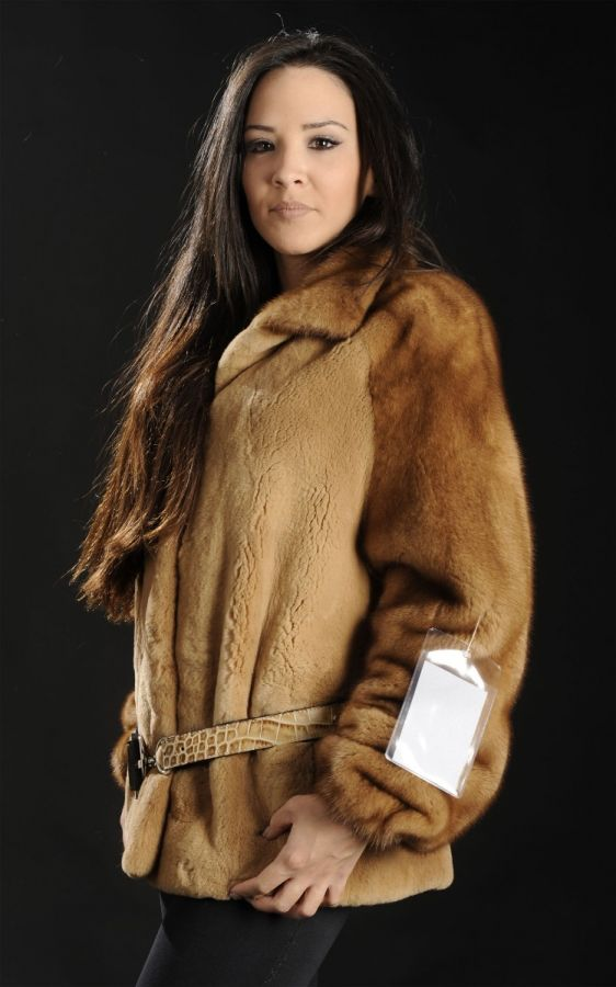 Sheared Whiskey Mink Fur jacket with unsheared sleeves &collar