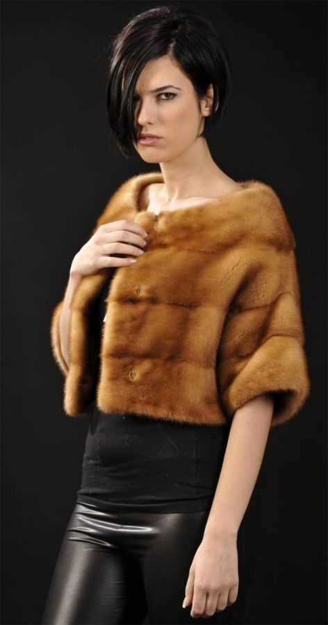 SAGA FURS Golden Mink Fur Bolero - short sleeve