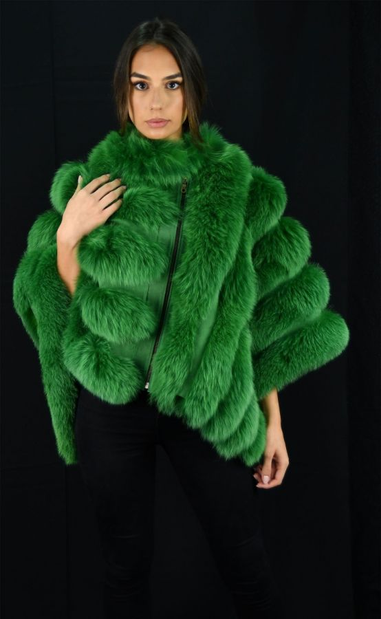 Green SAGA Fox Fur Cape with Suede Leather - One Size fits most