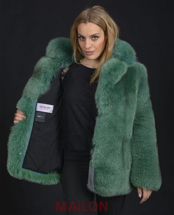 Green SAGA Fox Fur Jacket