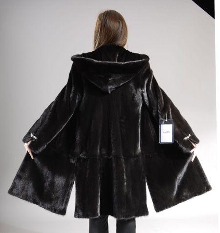 Hooded Black Mink coat, knee length