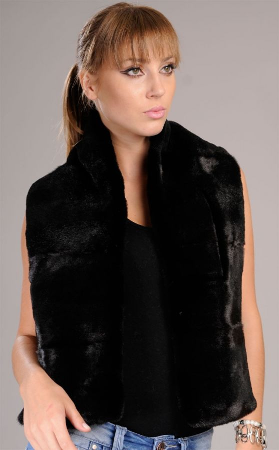 Sheared black Mink Fur Scarf