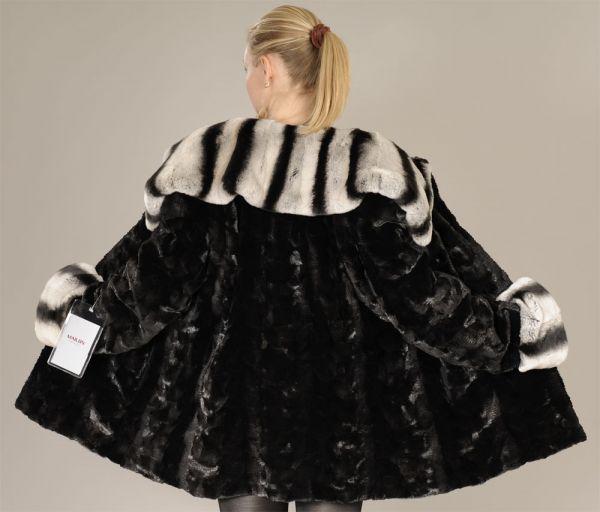 Black mink pieces coat - Rex rabbit turtleneck collar