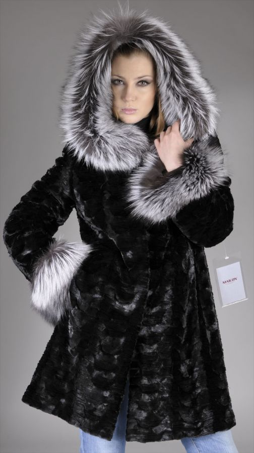 Black mink pieces fur coat with Fox trimmed hood - Size XS
