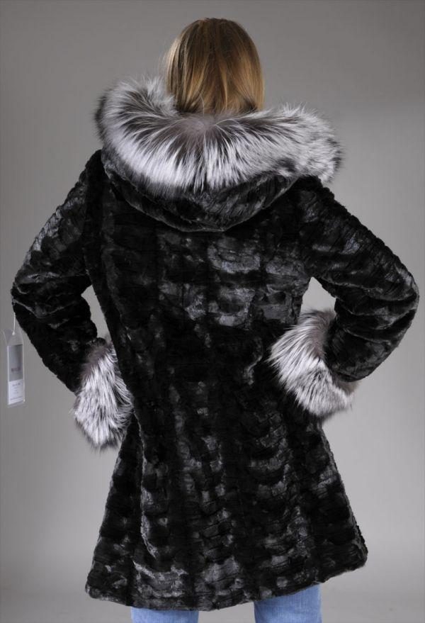 Black mink pieces fur coat with Fox trimmed hood