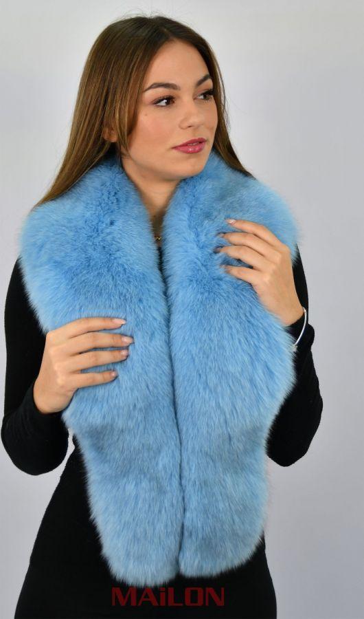 SAGA Dyed Light Blue Fox Fur Collar