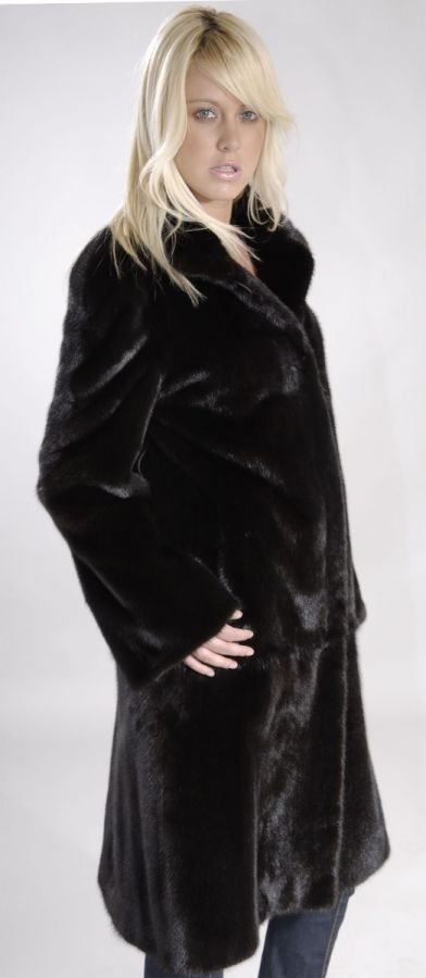 Skin on Skin Black Mink SAGA Fur Coat