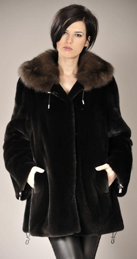 Blackglama mink fur jacket with Sable collar