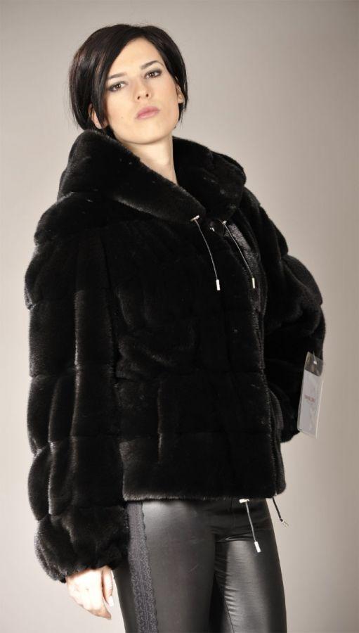 Hooded Blackglama mink fur jacket