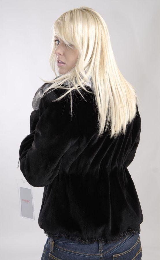 Sheared black SAGA Mink Fur Jacket with chinchilla collar