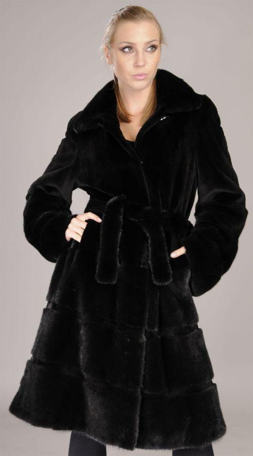 Saga Black mink coat - sheared and unsheared combined
