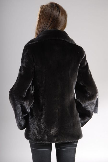 Black mink fur jacket with leather zipper