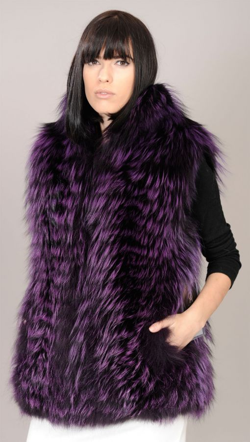 Purple (mauve) Feathered Fox fur vest - Size L/XL