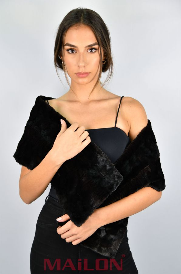 Black Mink Fur Scarf - pieces / patchwork