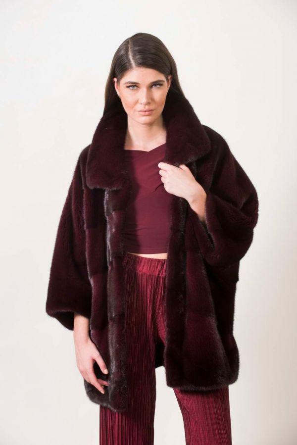Burgundy SAGA ROYAL mink jacket coat cape kimono