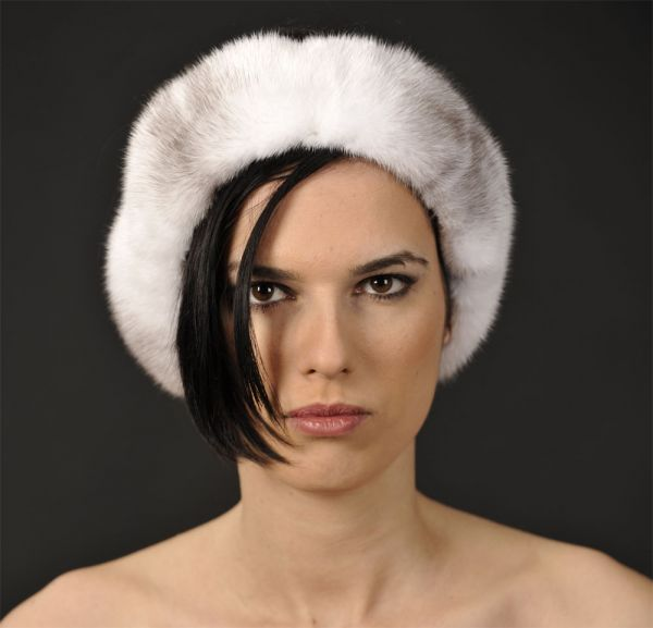 Black Cross / Silver Cross Mink Fur Headband - One Size