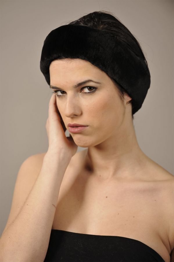 Sheared Black Mink Fur Headband - One Size