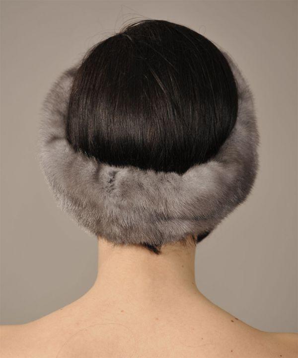 Blue Iris Mink Fur Headband - One Size