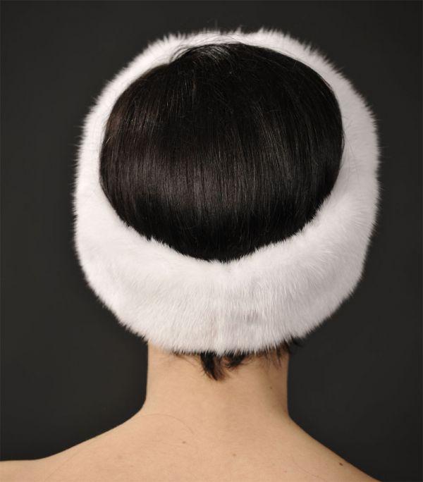 White Mink Fur Headband - One Size