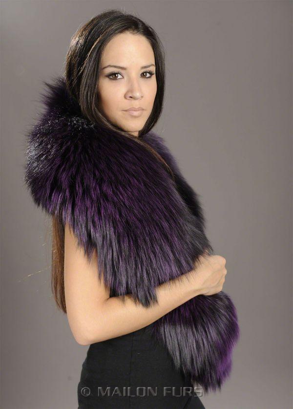 SAGA Purple mauve Fox Fur collar