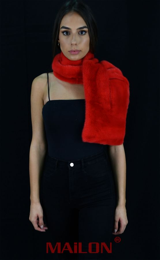 Red (dye) Mink Fur Scarf