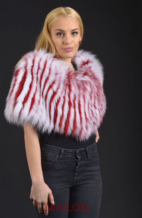 SAGA Red and White stripes Fox stole - One Size