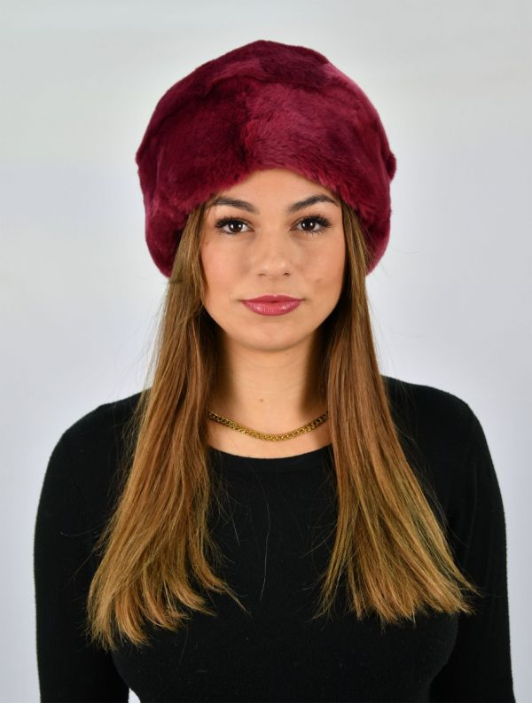 Burgundy Rex Fur Hat Size Medium