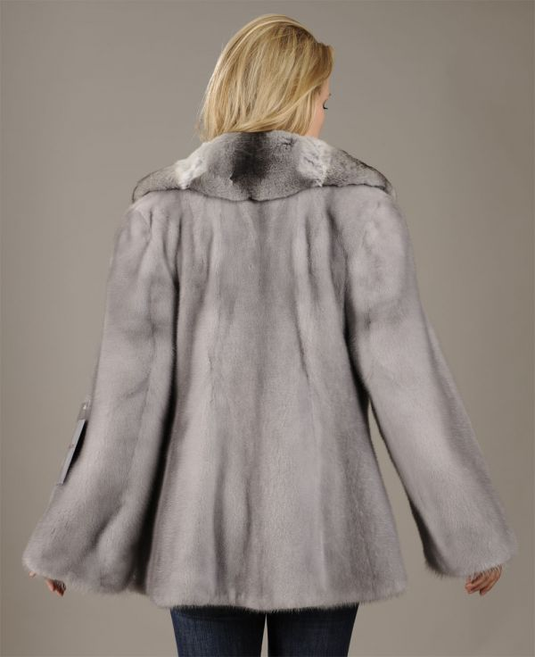 Sapphire Mink Jacket with genuine Chinchilla collar