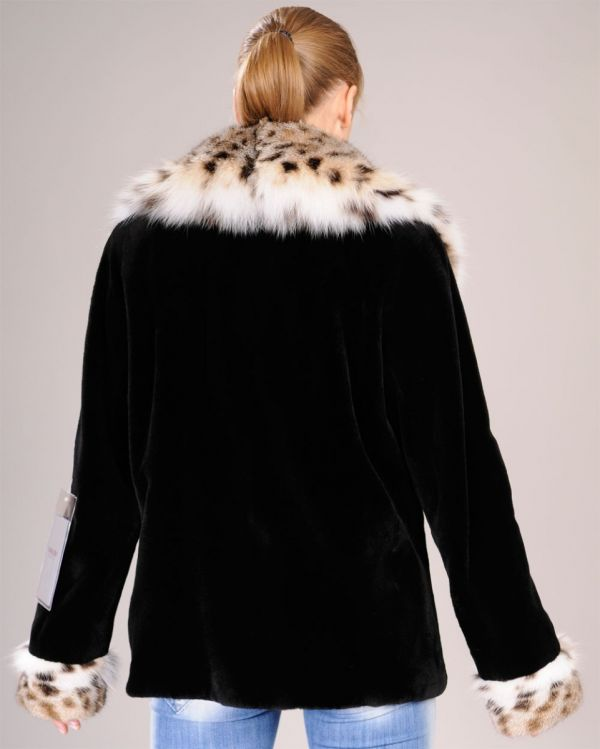 Sheared black mink fur jacket with Lynx collar and cuffs