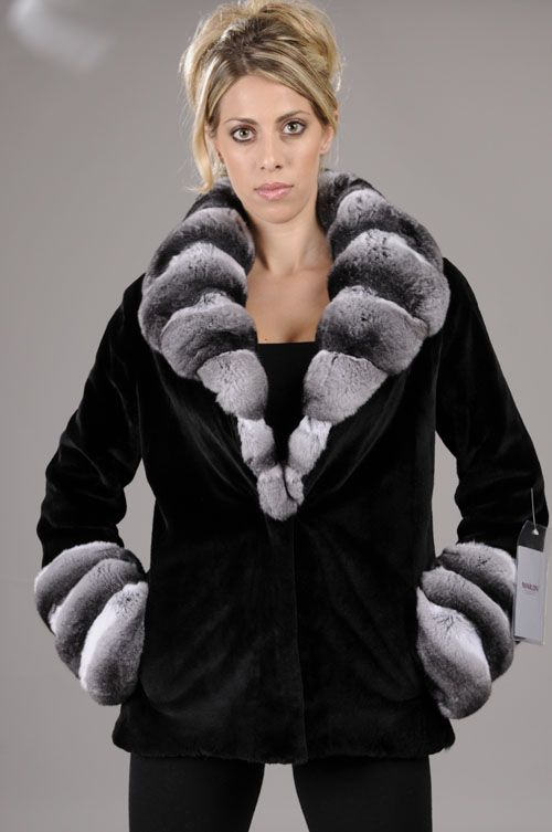 Sheared black Mink Fur Jacket with chinchilla collar and cuffs