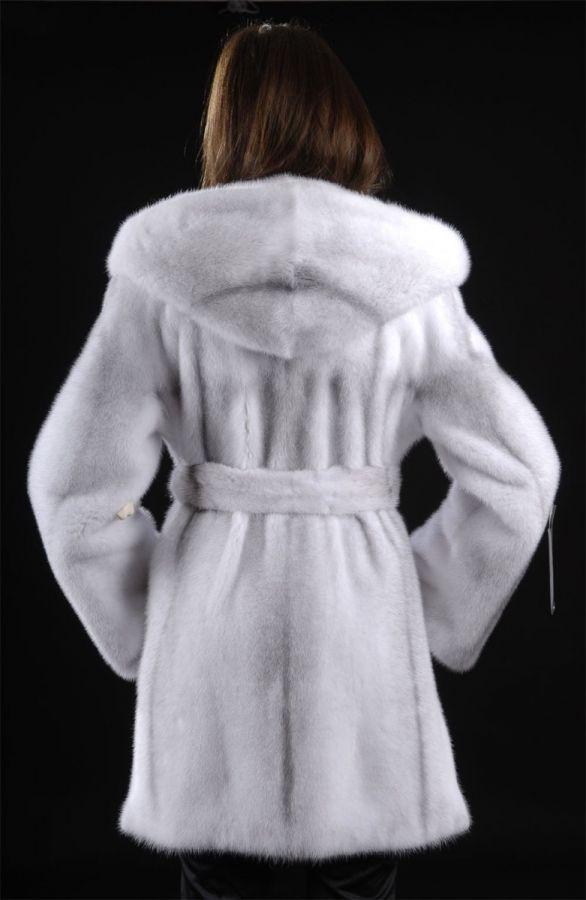 Letout Hooded Silver Cross Mink Coat Parka
